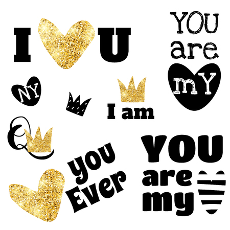 Glitter heart and lettering vector illustration.Typography print slogan set