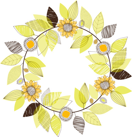 Hand drawn doodle leaves and sunflowers wreath vector illustration Çizim