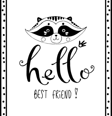 Greeting vector card with lettering and friendly raccoon Çizim