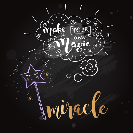 Lettering on blackboard with cute doodle magic wand
