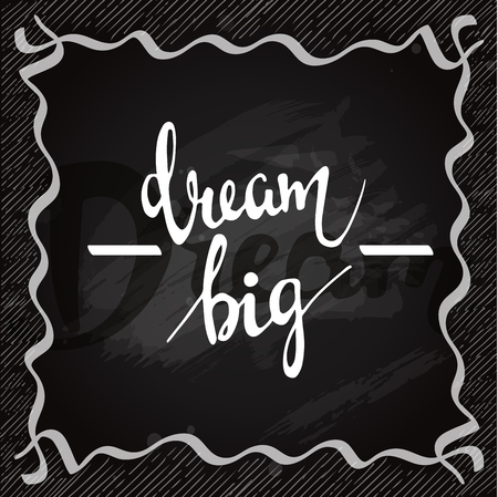 Lettering on chalkboard. Dream big vector card Çizim