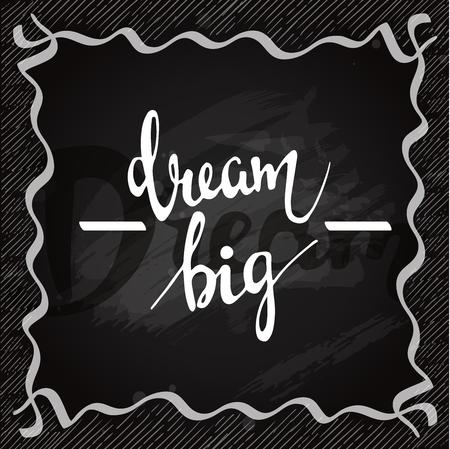 Lettering on chalkboard. Dream big vector card Illustration