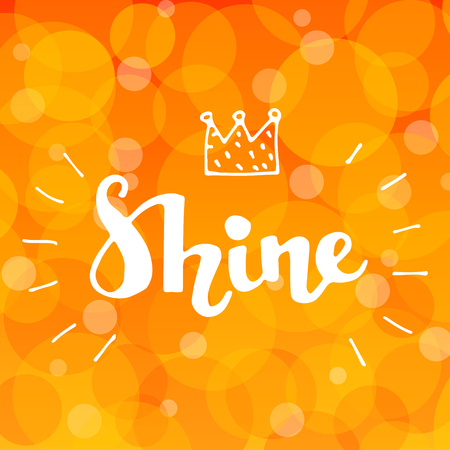 Lettering word Shine with doodle crown on golden abstract background Çizim