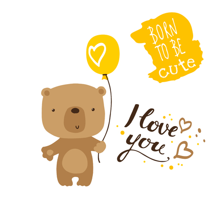cute cartoon baby bear with balloon and lettering vector illustration