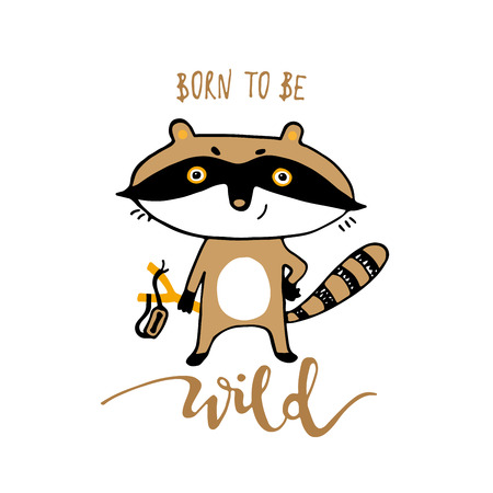 Cute funny cartoon raccoon. Print for cards, t shirt vector illustration