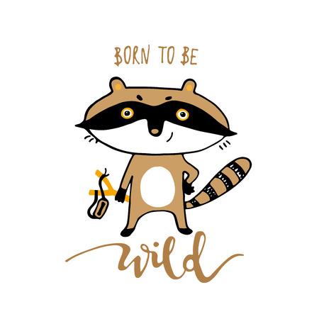 Cute funny cartoon raccoon. Print for cards, t shirt vector illustration