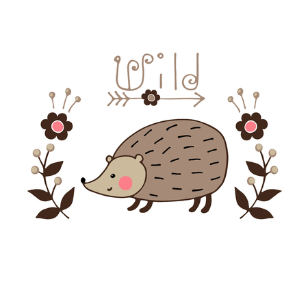 cute decorative hedgehog vector illustration. Typography print for cards, t shirts, postcards Çizim