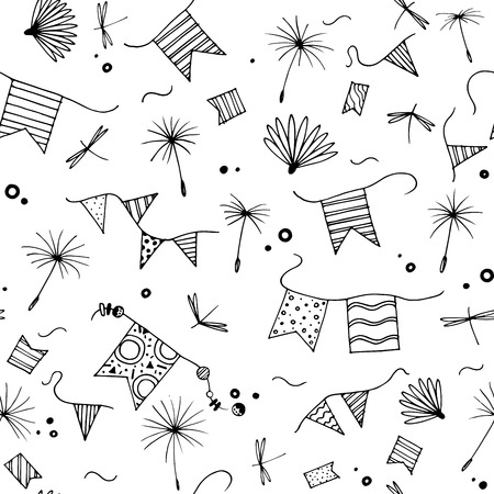 Summer seamless pattern. Black elements isolated on white background. Doodle dandelion seeds, flags, dragonfly Çizim