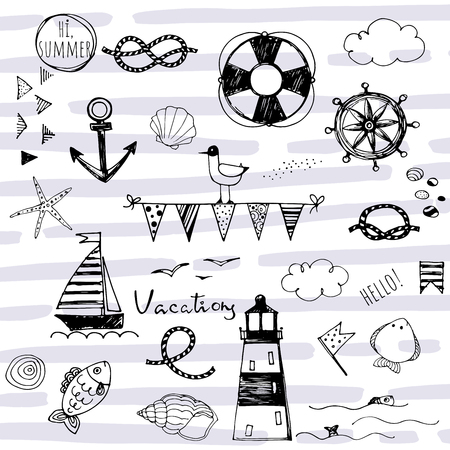 doodle hand sketched nautical elements on striped abstract background Çizim