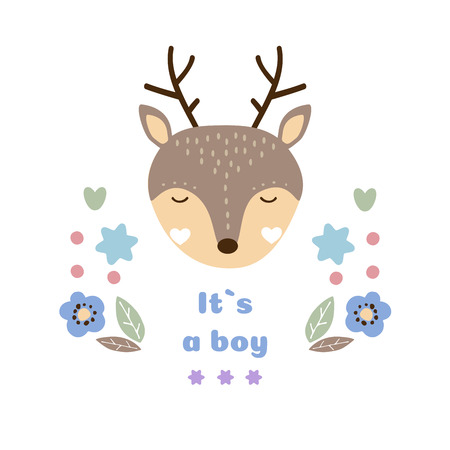 Baby vector card. Its a boy. Cute baby animal vector illustration Çizim