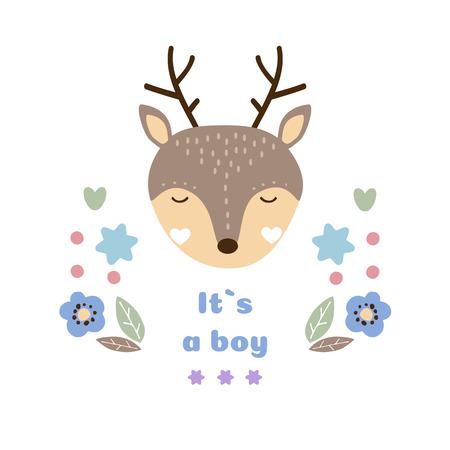 Carte de vecteur de bébé. C'est un garçon. Illustration vectorielle de bébé mignon animal