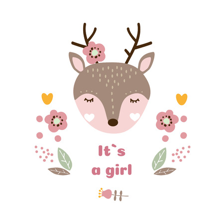 Baby vector card. Its a girl. Cute baby animal vector illustration
