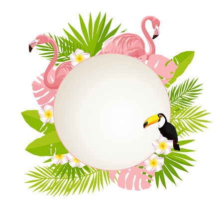 Summer floral design template. Tropical leaves, toucan and flamingo vector illustration