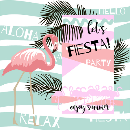 Summer abstract poster with flamingo. Vector illustration with hand drawn palm leaves