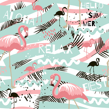 Tropical summer abstract seamless pattern with flamingo