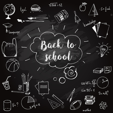 Hand drawn school doodle elements on blackboard. Back to school vector ikkustration Çizim