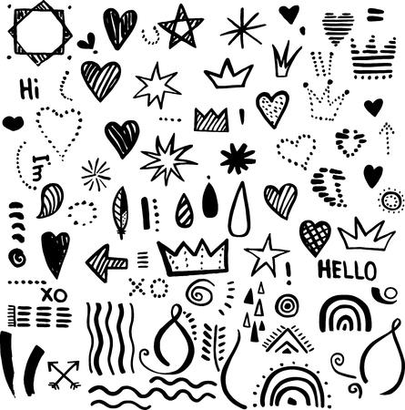 Hand drawn black ink doodle elements set Ilustrace
