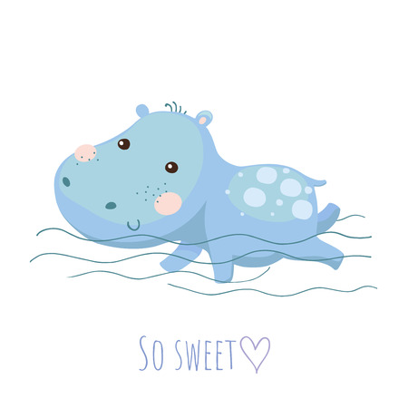 Cute swimming baby hippo vector card