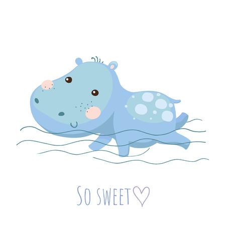 Tarjeta linda del vector del hipopótamo del bebé de la natación