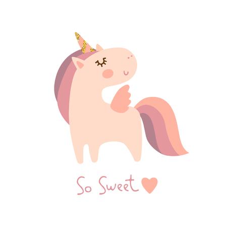 Carino piccolo unicorno illustrazione vettoriale. Stampa per maglietta Vettoriali