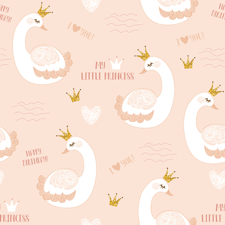 Little swan princess with crown vector illustration seamless pattern