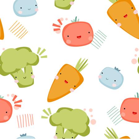 Cute vegetables vector illustration seamless pattern