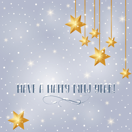 Happy New Year greeting card with stars and snow. Winter vector illustration