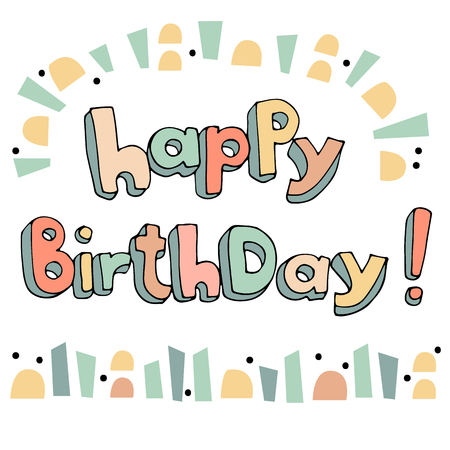 Hand drawn happy birthday doodle greeting card Illustration