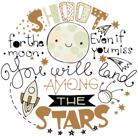 Doodle lettering with moon and space elements Illustration