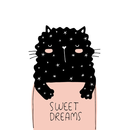Sweet dreams vector illustration card