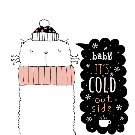 Winter card with lettering vector illustration