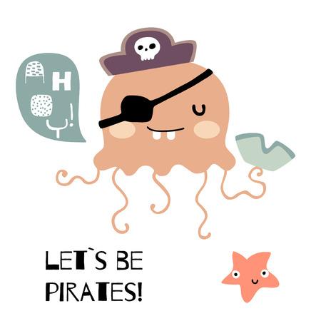 Doodle jellyfish piratical vector illustration Illustration