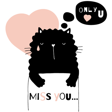 Hand drawn Valentines Day vector illustration with doodle animal Illustration