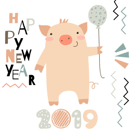 Doodle New Year greeting card. Year of a pig vector illustration Çizim