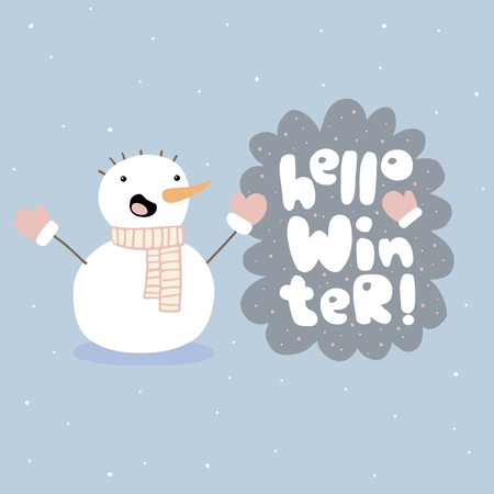 Hello winter vector illustration with snowman Çizim