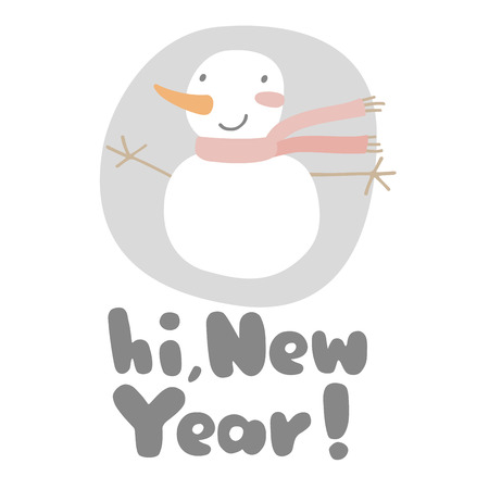 Greeting card with cute funny snowman. Winter vector illustration