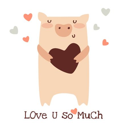 Happy Valentines Day greeting card. Cute funny pig with heart. Doodle vector illustration