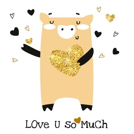 Happy Valentines Day greeting card. Cute funny pig with glitter heart vector illustration Çizim