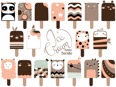 Cute funny ice cream set