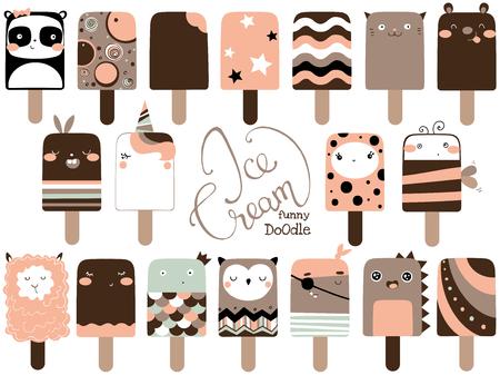 Cute funny ice cream set