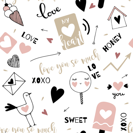 Valentines Day doodle elements seamless pattern Çizim