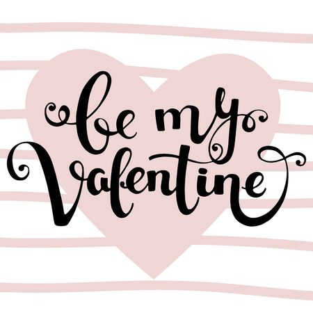 Valentines Day vector card with heart and lettering