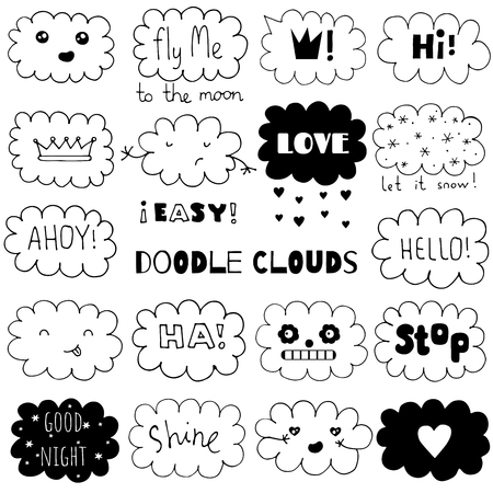 Doodle clouds set. Hand drawn vector illustration