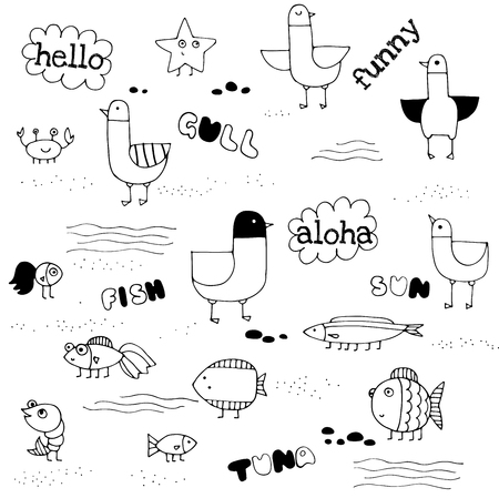 Doodle hand drawn gulls and fish