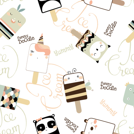 Seamless pattern with cute ice cream
