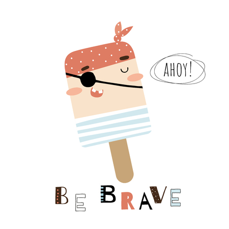 Doodle pirate ice cream vector card Illustration