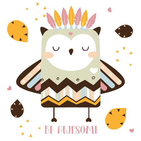 Cute tribal owl vector card. Be awesome vector illustration