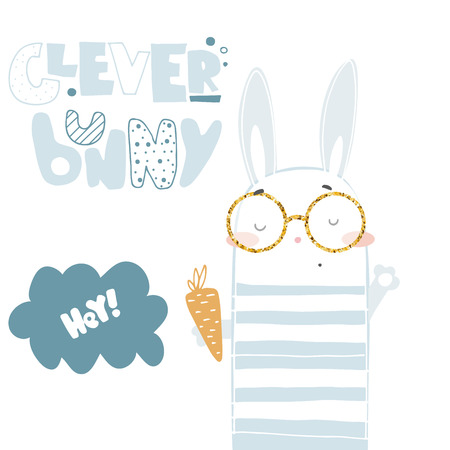 Hand drawn clever bunny vector illustration card Çizim