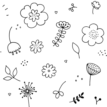 Hand drawn doodle floral seamless pattern. Simple floral graphic elements