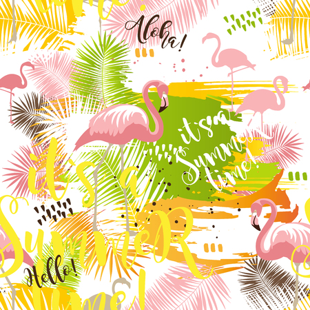 Summer tropical abstract seamless pattern with palm leaves and flamingo